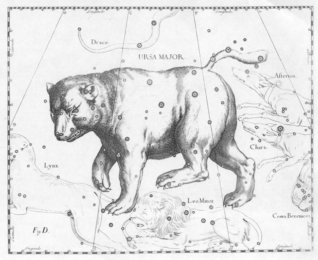 Созвездие Большой Медведицы в атласе Яна Гевелия.