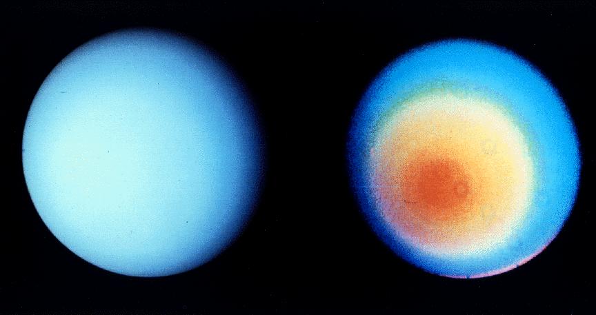 Изображение в естественных цветах (слева) и на более коротких волнах (справа), позволяющие различить облачные полосы и атмосферный «капюшон» (снимок «Вояджера-2»)