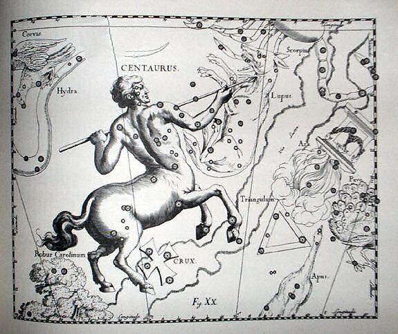 Созвездие Центавр в атласе звёздного неба Яна Гевелия