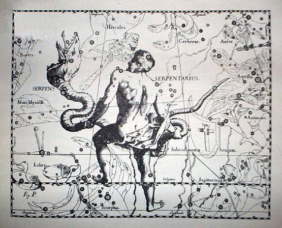 Созвездие Змееносец в Атласе звёздного неба Яна Гевелия (XVII век).