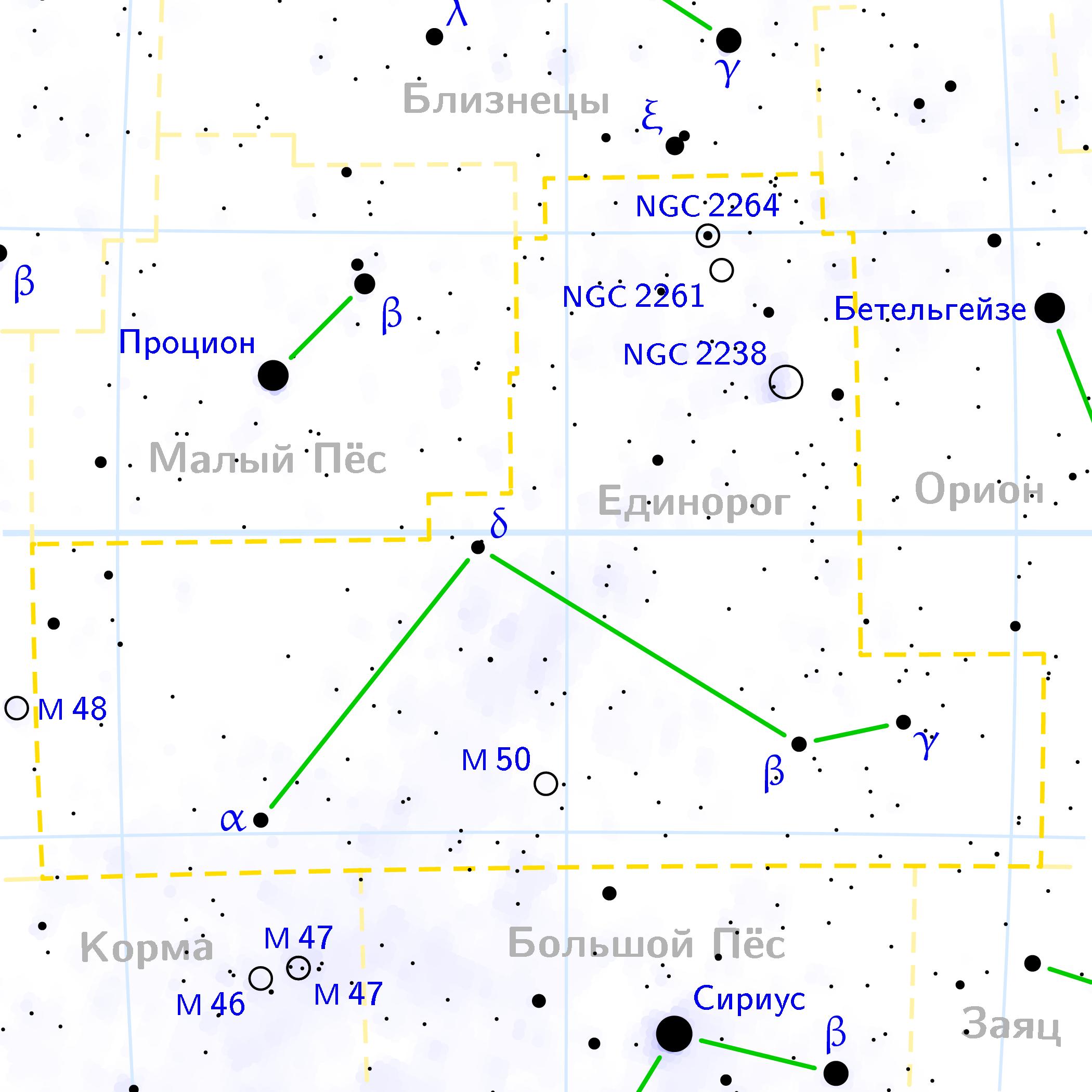 Созвездие Единорог созвездие (лат. Monoceros)