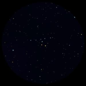 Астеризм «Вешалка» (в центре), вид в бинокль