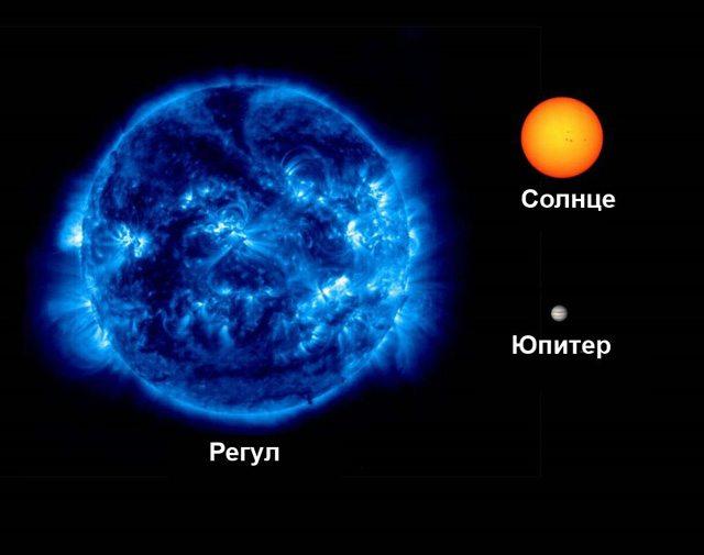Звезда Регул в сравнении