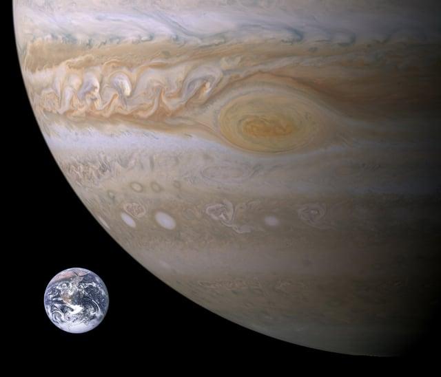 В сравнение размеры Юпитера и Земли