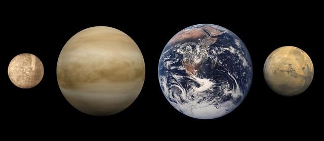 Сравнительные размеры (слева направо) Меркурия, Венеры, Земли и Марса