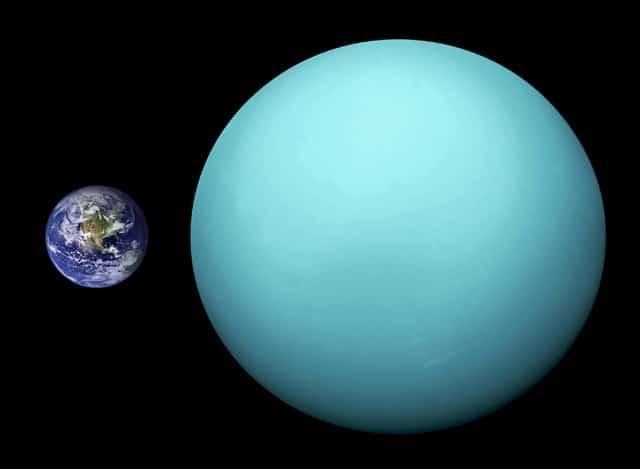 Сопоставление размеров Земли и Урана