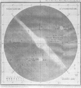 Объект M31 — Туманность Андромеды. Рисунок Ш. Мессье. Опубликован в 1807 г.