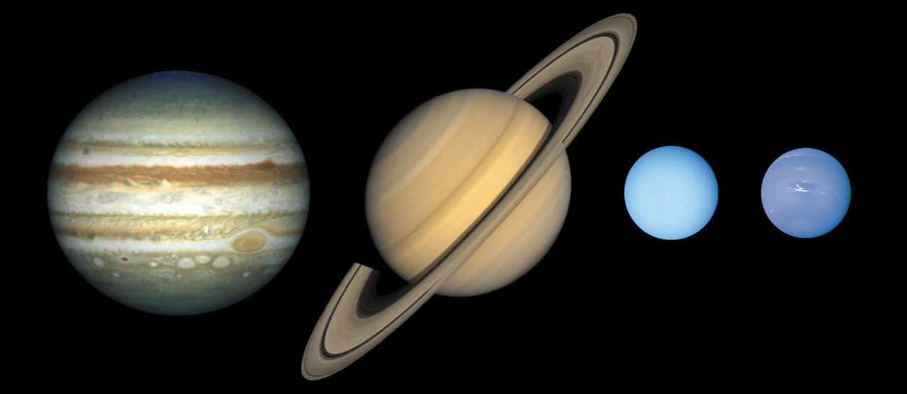Планеты-гиганты. Слева направо: Юпитер, Сатурн, Уран и Нептун