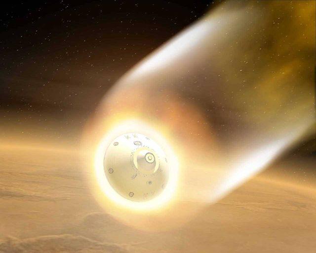 Космический корабль входит в атмосферу