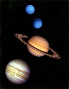 Нептун, Уран, Сатурн и Юпитер