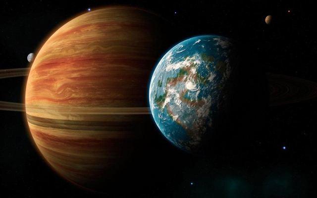 Земля и Сатурн