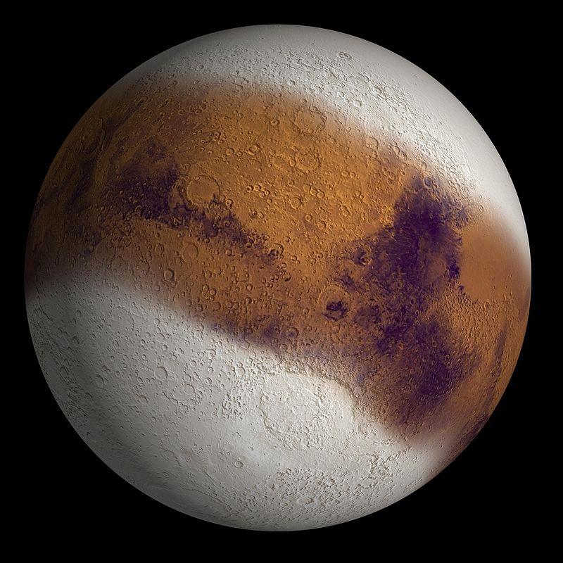 Марс в ледниковый период 2,1 млн - 400 тыс лет назад, когда ось его вращения предположительно была сильно наклонена к плоскости орбиты. Полярные шапки разрастаются до низких широт порядка 30°.