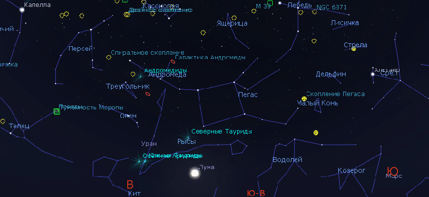 сказать, что осенние созвездия на небе названия и картинки понятный путь