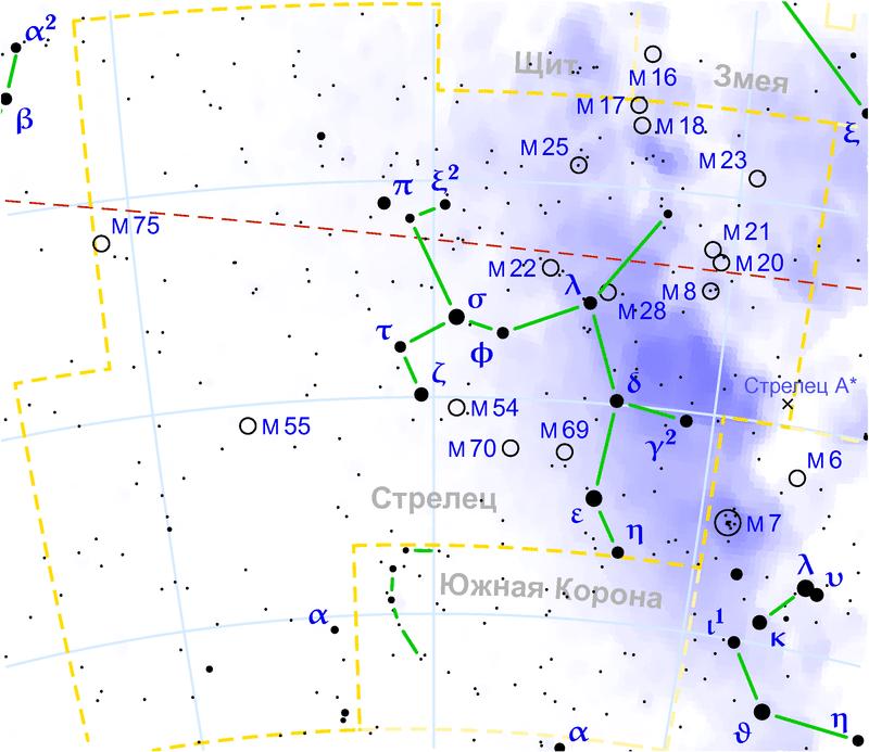 Туманность Лагуна в созвездии Стрельца