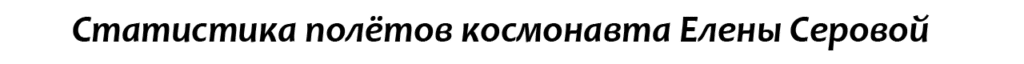 Космонавт Елена Олеговна Серова