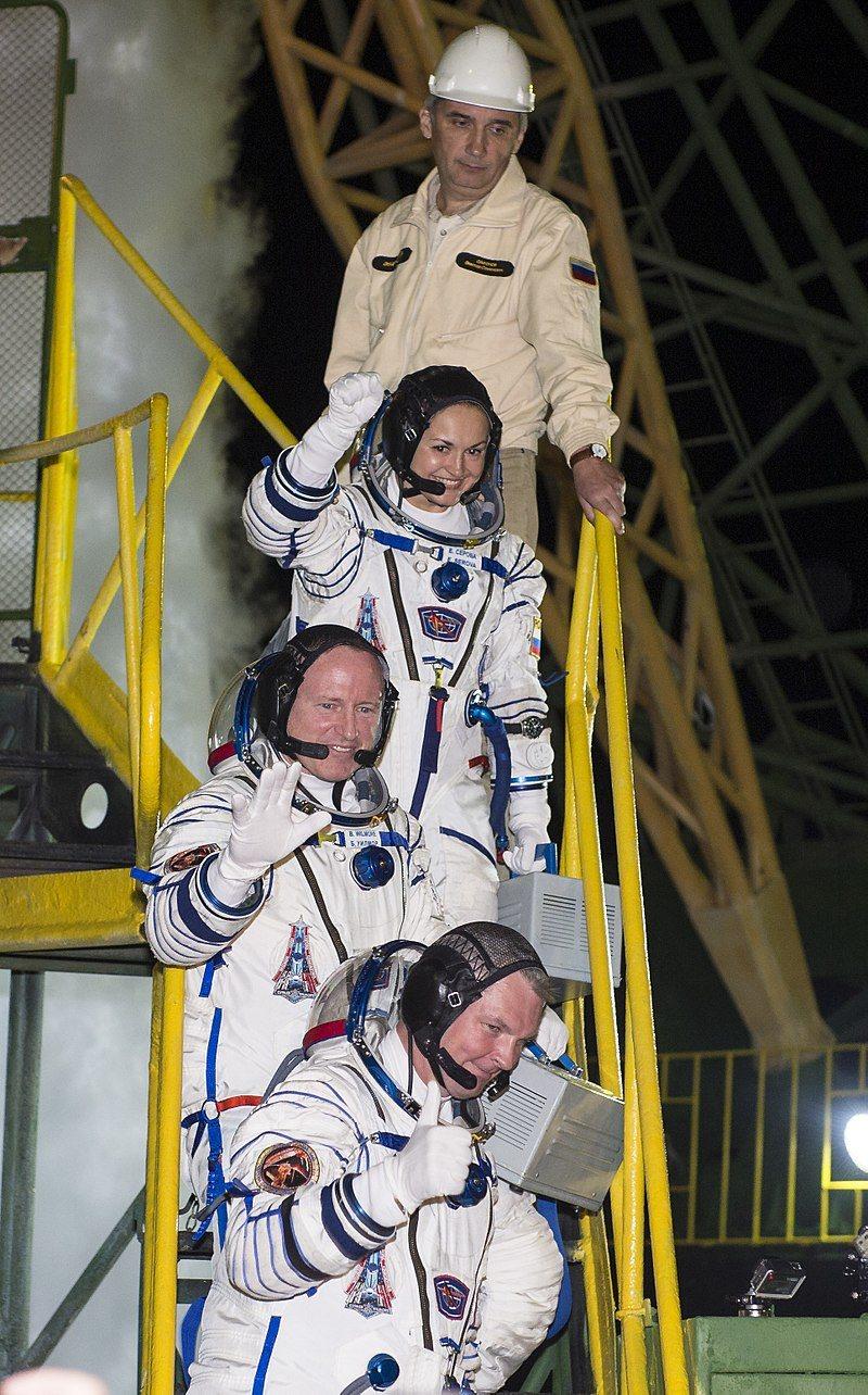Экипаж корабля «Союз ТМА-14М» перед стартом, 25 сентября 2014 года.