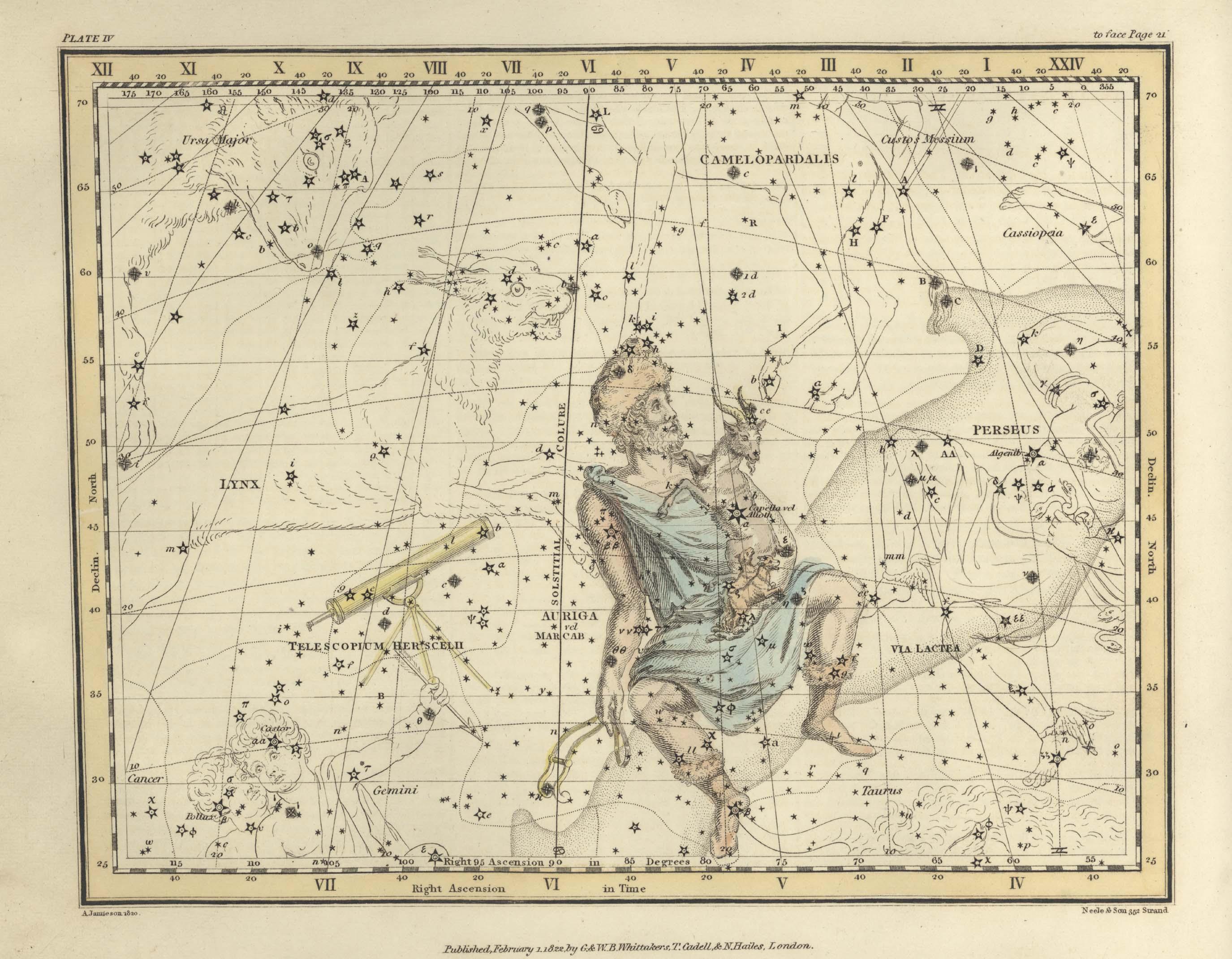 Изображение возничего в Atlas Coelestis