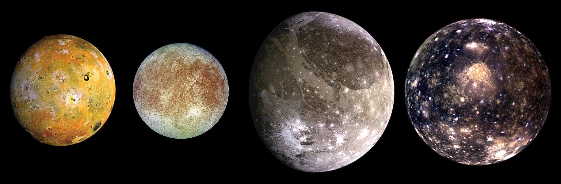 Галилеевы спутники Юпитера. Слева направо, в порядке удаления от Юпитера: Ио, Европа, Ганимед, Каллисто