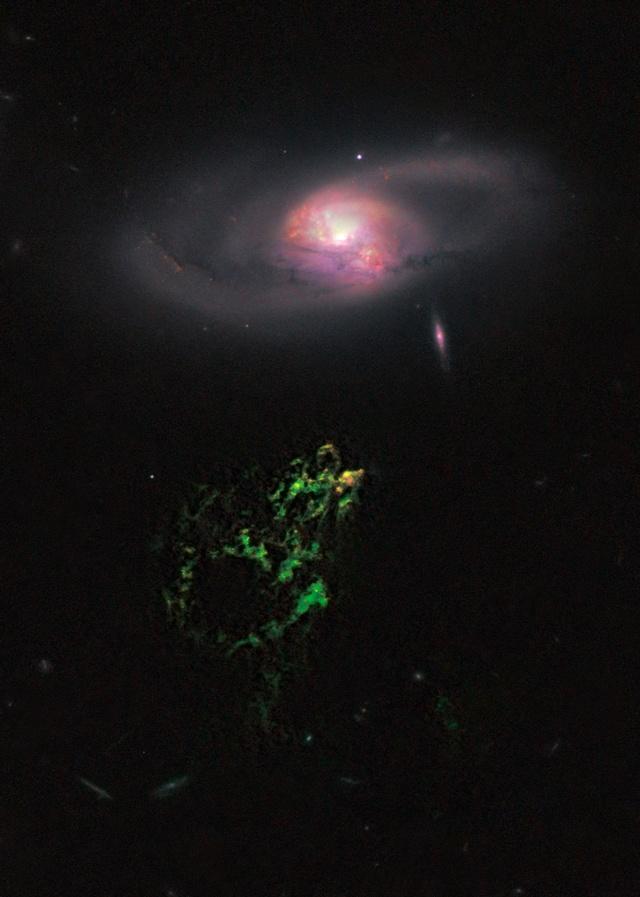 Hanny's Voorwerp и IC 2497 взяты широкой полевой камерой 3 космического телескопа Хаббла.