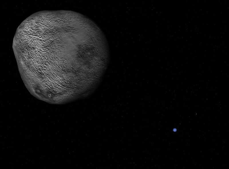 Нереида и Нептун на заднем плане (скриншот из программы Celestia). Изображение поверхности спутника вымышленное.