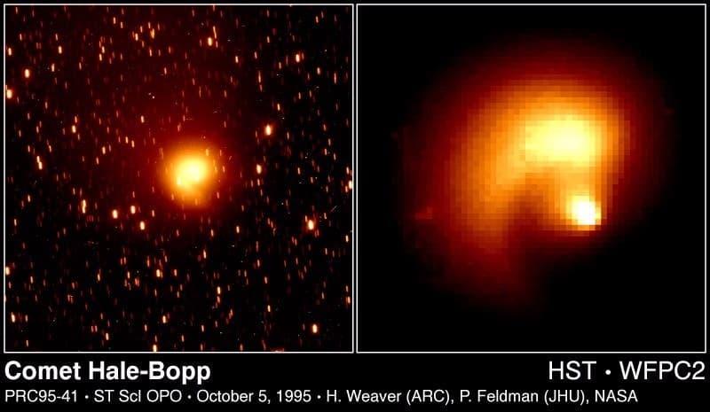 Выброс вещества из ядра кометы.