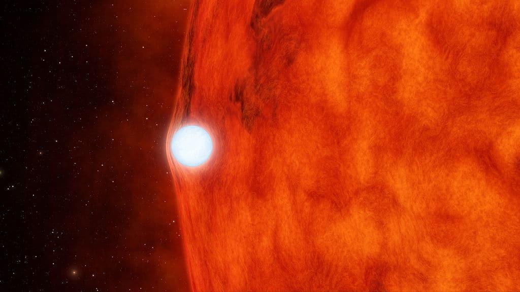 Тесная двойная система, система KOI-256, состоящая из красного и белого карликов. Иллюстрация NASA.
