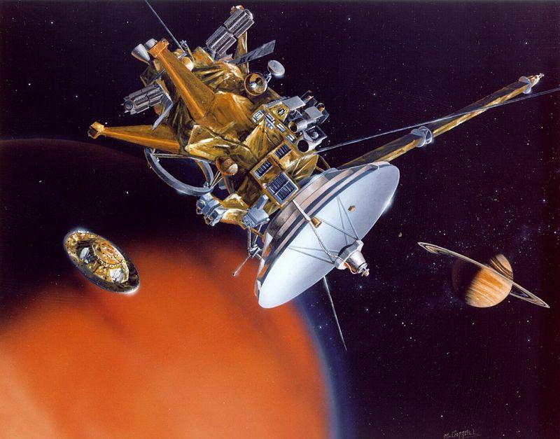 Эта концепция художника орбитального корабля Кассини показывает, что зонд Гюйгенса отделяется, чтобы войти в атмосферу Титана. После отделения зонд дрейфует около трех недель, пока не достигнет места назначения-Титана. Оснащенный различными научными датчиками, зонд Huygens потратит 2-2.5 часов, спускаясь через плотную, мрачную атмосферу Титана, состоящую из молекул азота и углерода, посылая свои результаты на далекий орбитальный корабль Кассини над головой. Зонд может продолжать передавать информацию в течение 30 минут после того, как он приземлится на холодную поверхность Титана, после чего орбитальный корабль пройдет под горизонтом.