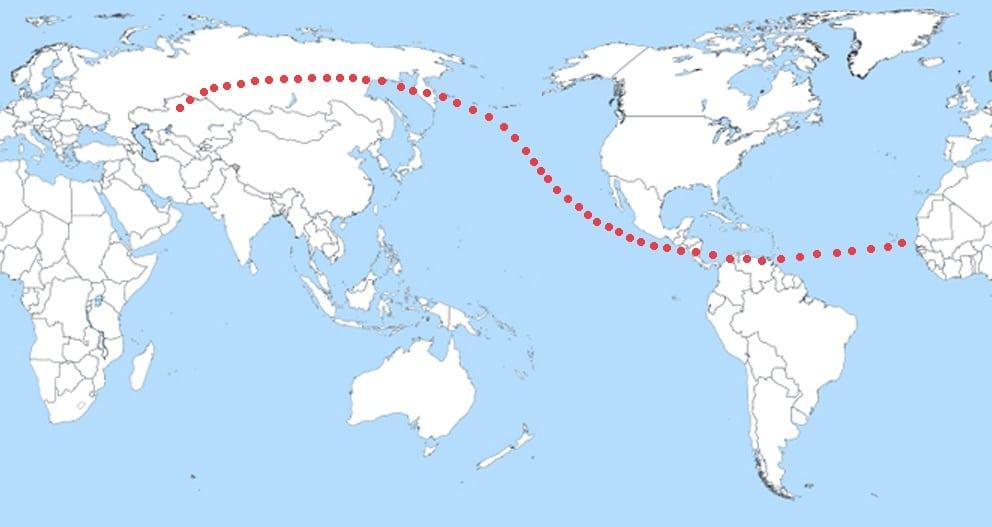 Расположение возможных мест падения Апофиса, если бы он столкнулся с Землёй в 2036 г.