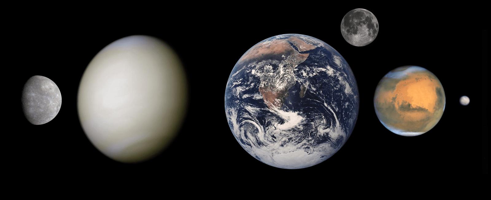 Эта изображение показывает приблизительные относительные размеры планет земной группы слева направо: Меркурий, Венера, Земля и Марс. Расстояния не масштабируются.
