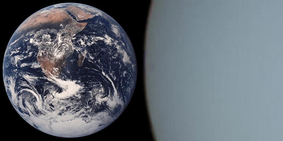 Сравнение Земли и Урана