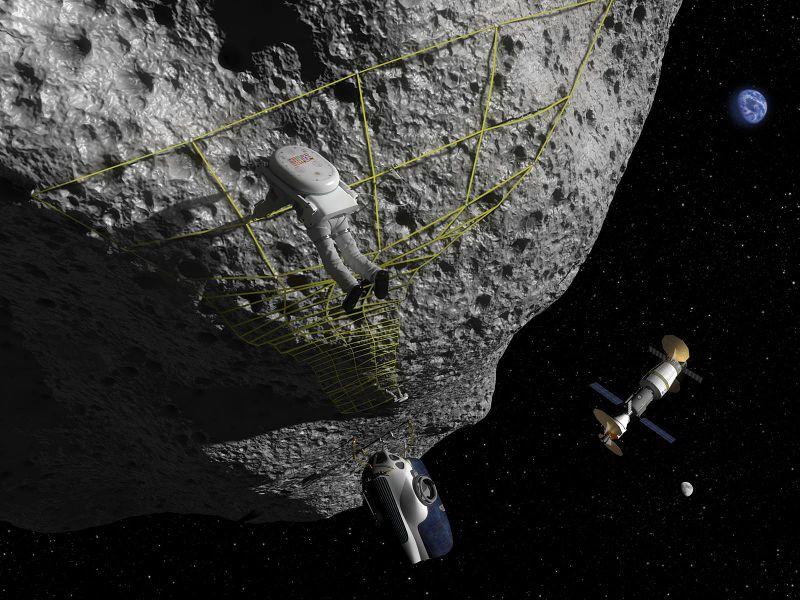 В концепции этого художника астронавт выполняет маневр привязывания на астероиде. Космический разведывательный аппарат (SEV) находится рядом, а многоцелевой экипаж Orion (MPCV) пристыкован к среде обитания на заднем плане.