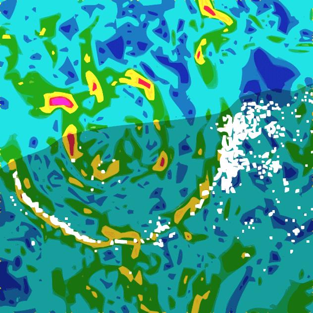 Карта гравитационной аномалии области чиксулубского кратера. Затененная область — полуостров Юкатан