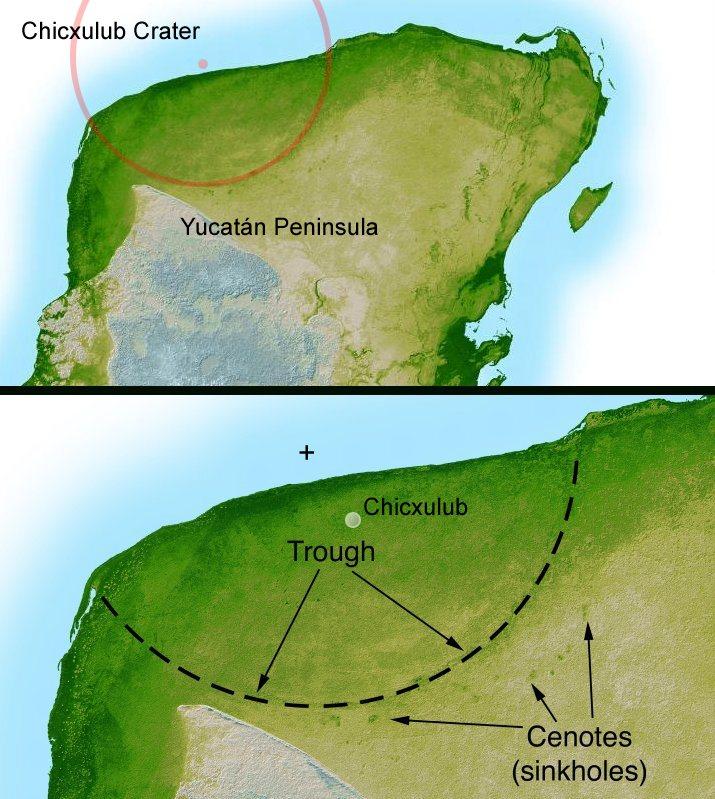 Радарная топографическая съёмка показывает наличие кратера диаметром 180 км