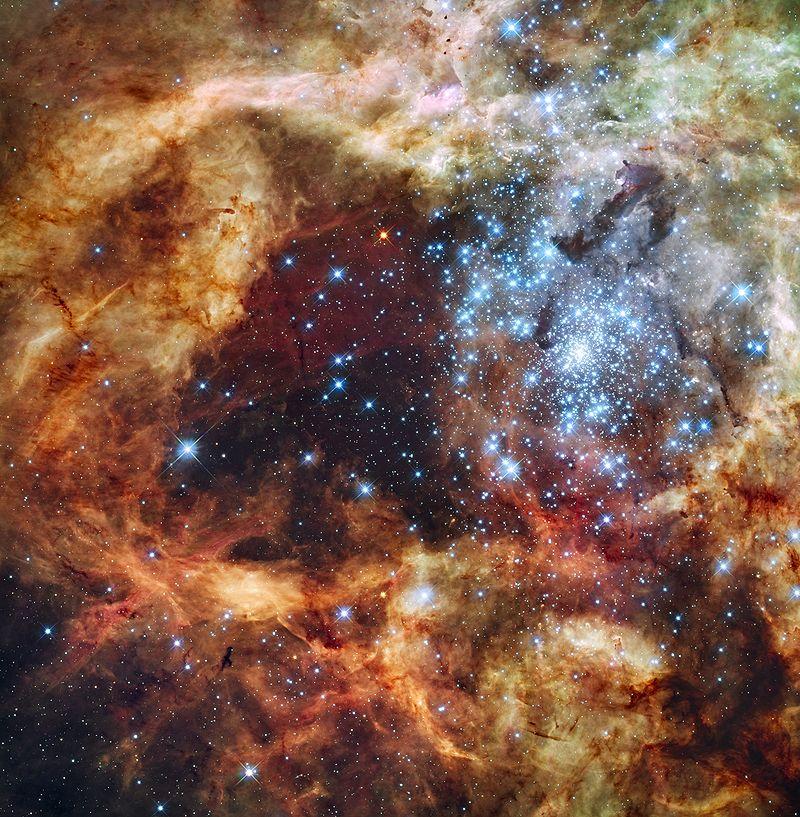 Изображение R136, сделанное с помощью телескопа «Хаббл», где находиться звезда R136a1