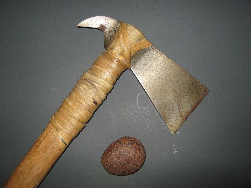 Железный метеорит найден на Лисьем острове, недалеко от Сьюарда на Аляске. Топор был выкован из аналогичного метеорита,и остатки структур Widmanstatten видны в лезвии.