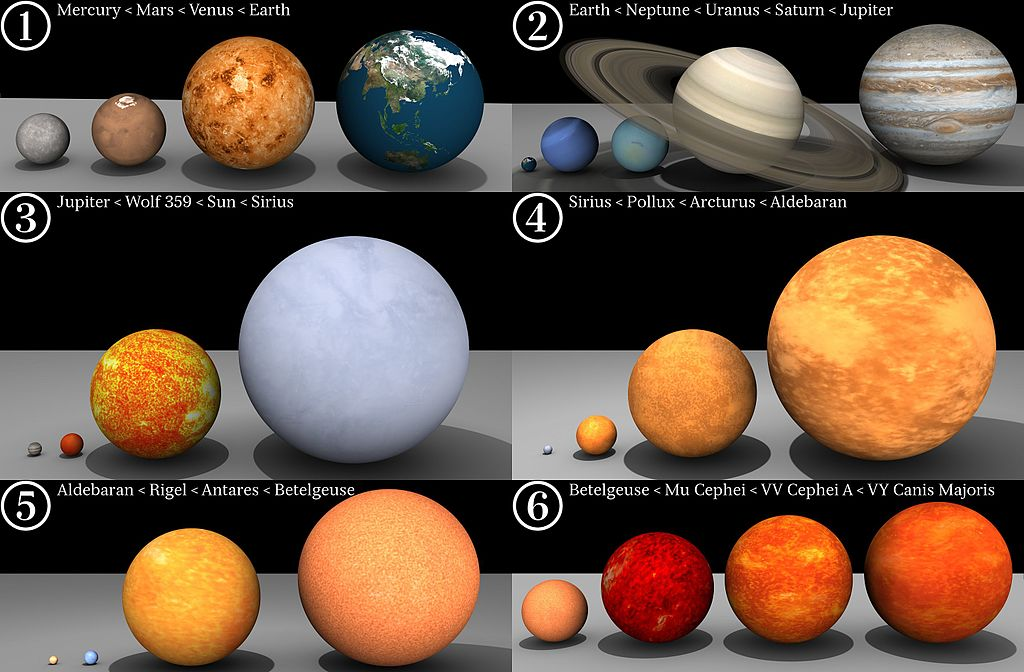Соотношение размеров планет Солнечной системы и некоторых хорошо известных звёзд, включая VY Большого Пса: 1. Меркурий < Марс < Венера < Земля; 2. Земля < Нептун < Уран < Сатурн < Юпитер; 3. Юпитер < Вольф 359 < Солнце < Сириус; 4. Сириус < Поллукс < Арктур < Альдебаран; 5. Альдебаран < Ригель < Антарес < Бетельгейзе; 6. Бетельгейзе < Мю Цефея < VV Цефея A < VY Большого Пса