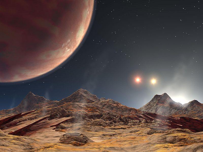 Взгляд художника на закат трёх светил на предполагаемом спутнике планеты HD 188753 A b
