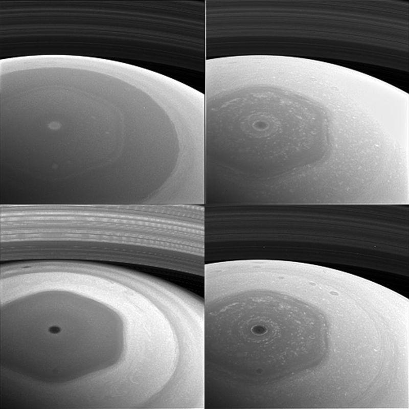 Этот коллаж изображений с космического аппарата НАСА Cassini, показывает северное полушарие Сатурна и шестиугольник Сатурна.