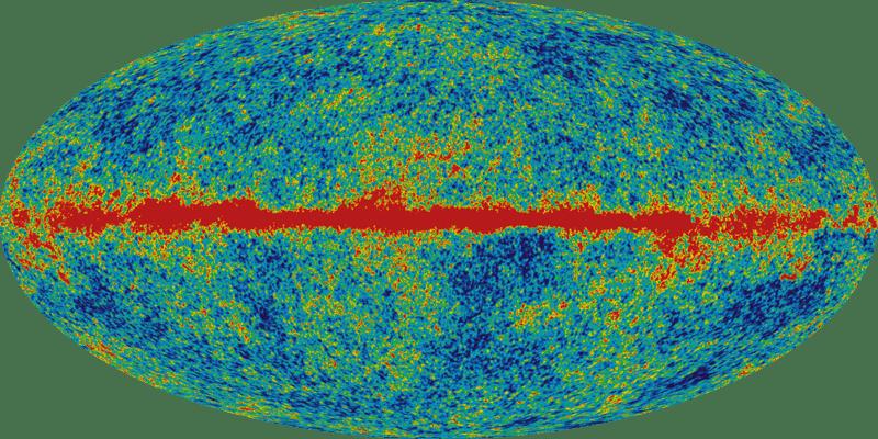 Карта (панорама) анизотропии реликтового излучения (горизонтальная полоса — засветка от галактики Млечный Путь). Красные цвета означают более горячие области, а синие цвета — более холодные области. По данным спутника WMAP