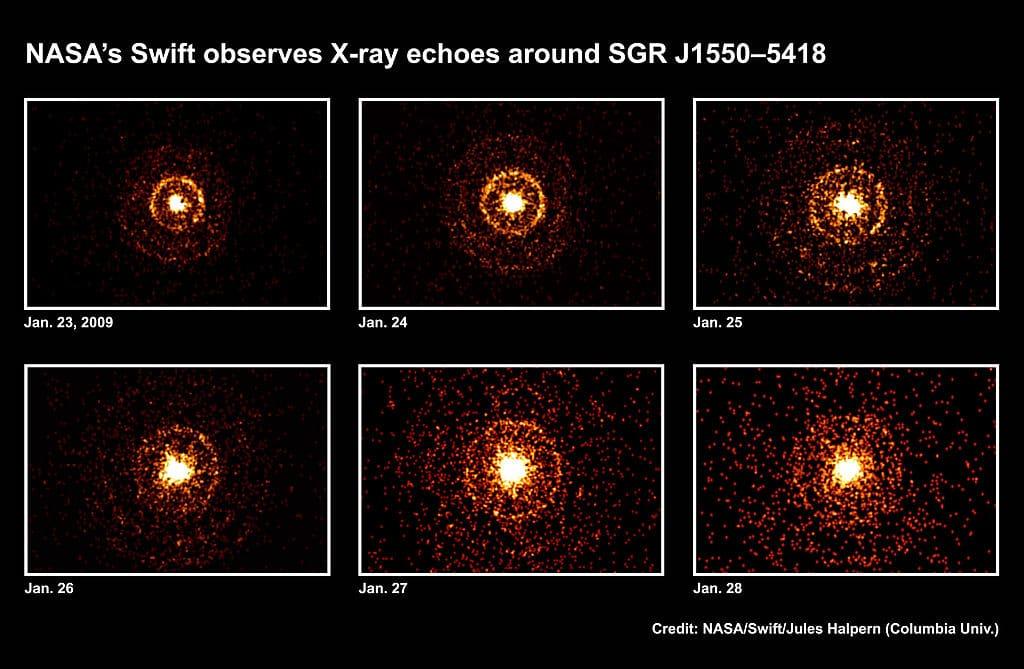 Вспышки SGR J1550-5418, зарегистрированные телескопом Swift 23—28 января 2009 г.