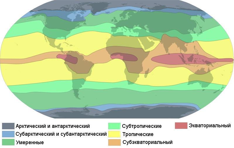 Климатические пояса Земли по Б. П. Алисову.