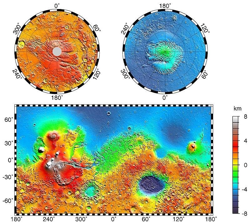 Топографическая карта Марса, по данным Mars Global Surveyor (1999). Нулевой меридиан Марса принят проходящим через кратер Эйри-0